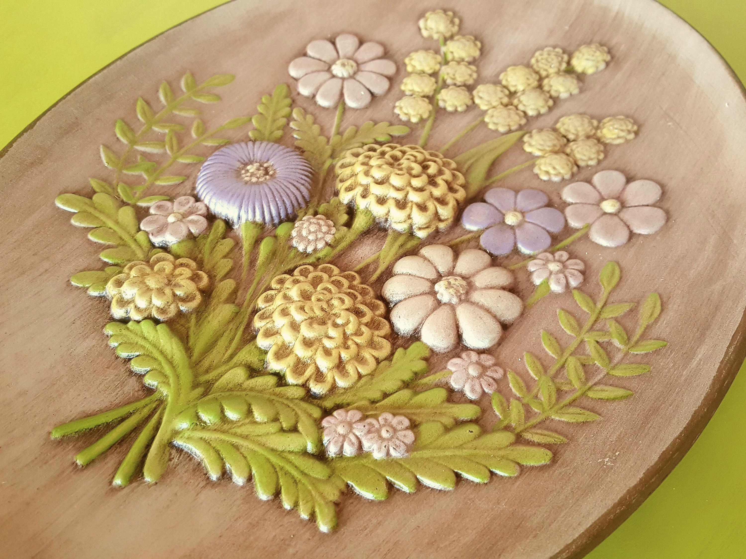 Handcrafted Ceramic Oval Floral Plate Floral Wall Hanging   Etsy