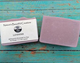 FREE SHIPPING - Lavendar 5oz Homemade All-Natural Soap