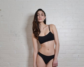 Sports Bra/Bralette with Mesh in Black- PAST SEASON