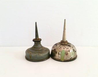 Two Vintage Oil Cans . Antique Oil Dropper . Small Grey Oil Cans . Petroliana . Rustic Industrial Decor . Farmhouse Style .