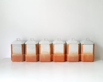 Antique Canister Set . Bavarian China . Canisters . Kitchen Storage Containers . Home Decor . Orange Lustre . Bavaria RCW . Germany