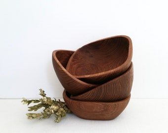 Set of Four Vintage Wooden Salad Bowls . MCM Monkey Pod Wood Salad Bowls . Square Wood Bowls . Dining and Serving . Home Decor . Party Snack