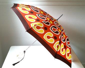 Mod Vintage Umbrella . Large Antique Umbrella . Rare Rain Umbrella . Modern Parasol . Vintage Fashion . Home Decor .
