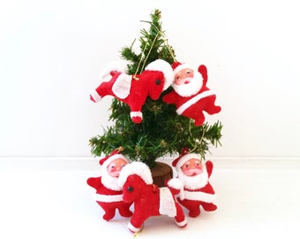Five Vintage Christmas Ornaments . Retro Santa and Horse Ornaments . Red and White Holiday Decor . Antique Holiday Ornaments . Retro Xmas