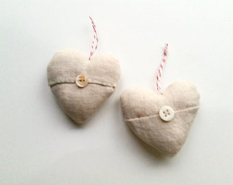 Two Linen Hearts . Love . Wedding Favors . Handmade . Up-cycled Vintage Linen . Farmhouse Home Decor . Rustic Cottage Cabin .