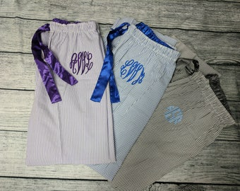 Monogram Pajama Pants Seersucker Striped