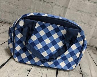 Monogram Lunch Bag-Bowler Style Royal Gingham
