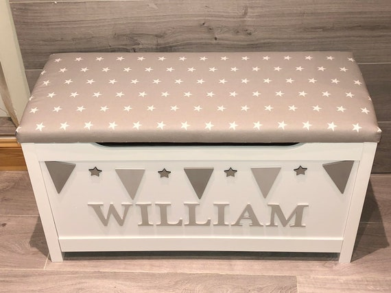 Personalised toy box, storage chest, kids bedroom storage box