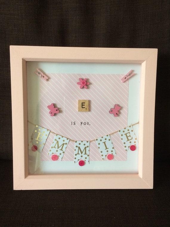 Scrabble frame. New baby. Frames. Scrabble letters. Box frame.