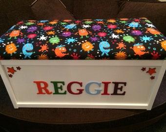 Toy chest. Toy box. Personalised toy box. Toy storage. Large toy box. Boys toy box. Monsters toy box. Boys birthday gift. Toddler toy box.