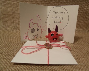 Love Devil - Valentine Devil Clay Sculpture with Matching Hand Written Card