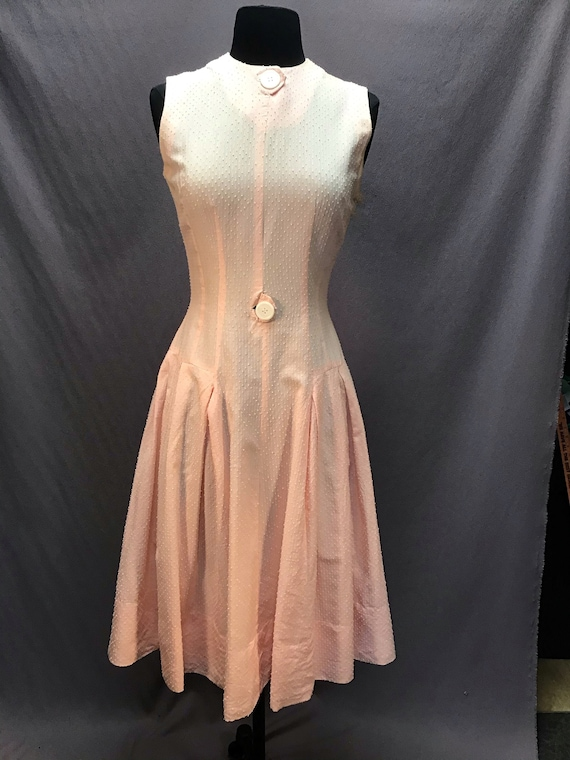 True Vintage 1950s Coral Pink with Swiss dot Dress