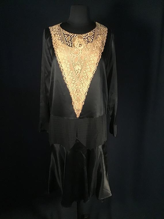 True Antique 1920s Vintage Black Silk Flapper Dres