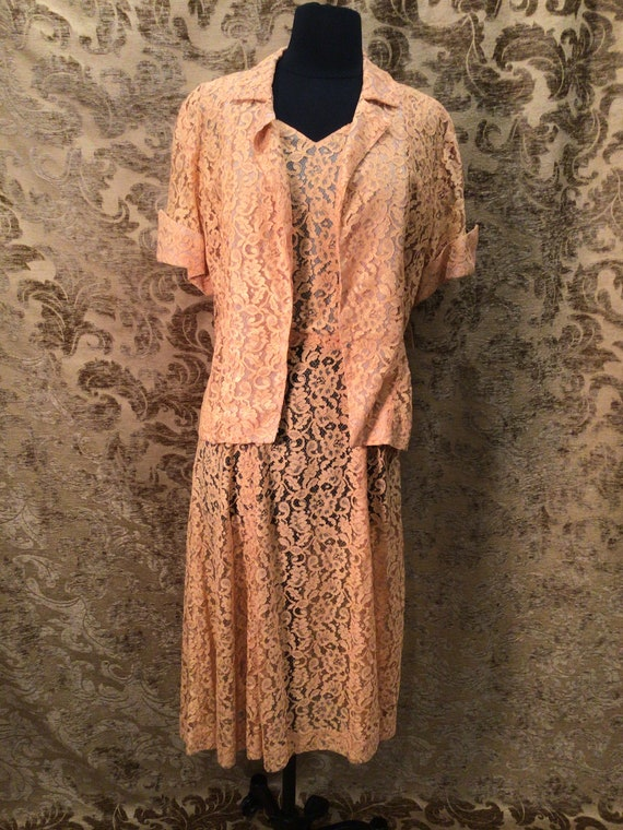 Vintage early 1940s 2pc. Peach Lace Dress and Jack