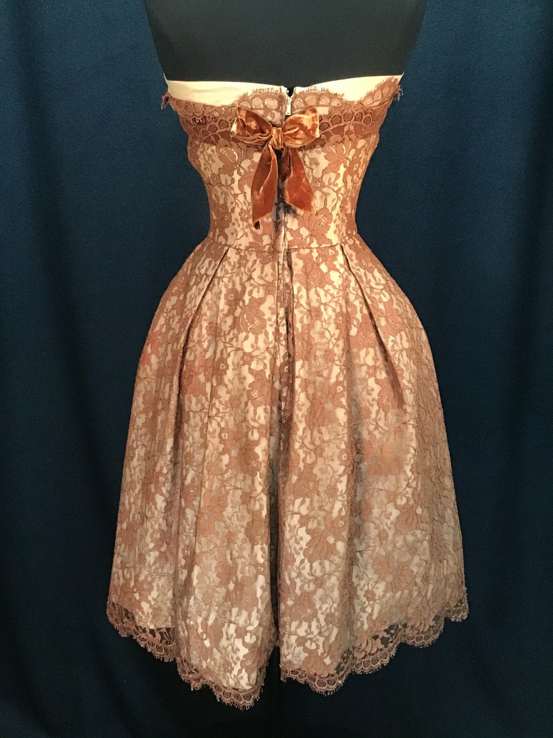 Vintage 1950s Emma Domb Strapless Bronze Lace Cocktail Dress