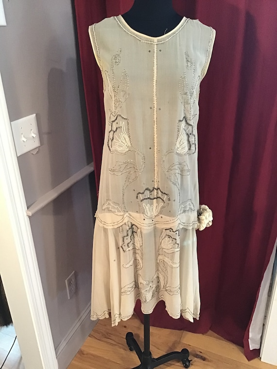 Authentic Sequin and Beaded Chiffon 1920s Flapper
