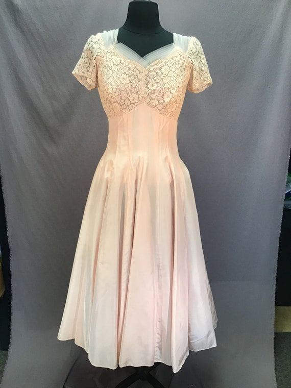 Vintage 1940s Pink Ballerina Cocktail Dress