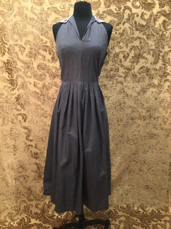 Vintage late1940s Slate/grey cotton Beaded Halter