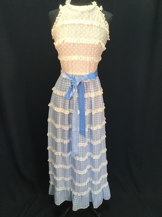 Vintage 1970s Cotton Sleeveless Summer Maxi Dress