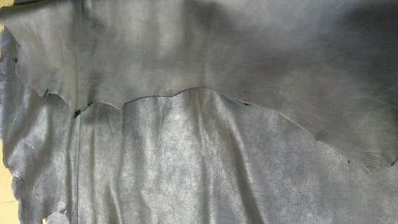 Italian Top quality Lambskin leather hide Antique Black Thin 1 oz 6 Sq.Ft