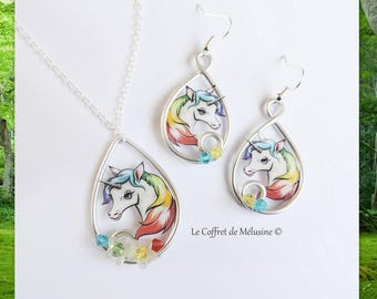 Necklace and earrings white Unicorn and multicolor