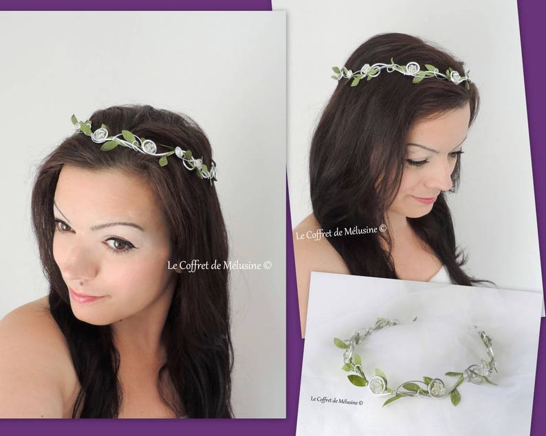 Small Crown of leaves and crystals wedding Améline image 0