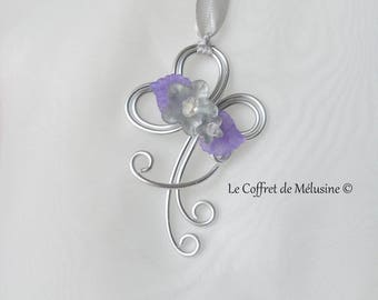 """Pendant flowers and purple leaves """"Hester"""" silver"""