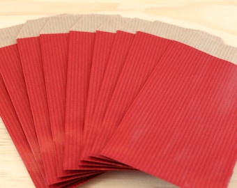 Lot of 50 Red 7 kraft gift bags x 13.5 cm