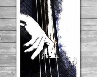 Jazz Bass Poster, Jazz Art, Jazz Illustration, Jazz Art Print, Fine Art Print, Jazz Prints, Music Poster, Music Prints, Interior Print, Jazz