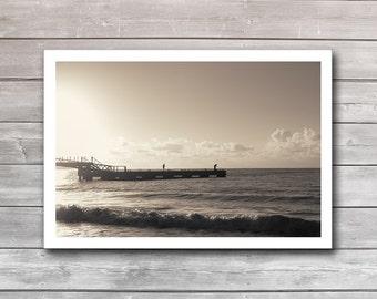 Sea Fishing, photo prints, art photography, travel poster, photo posters, sunrise print, sepia tone, interior prints, office decor, artphoto