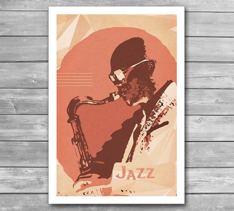 Jazz Art PosterMusic IllustrationJazzSaxophonistInterior PrintPrintsSaxophoneWall Festival Decoration k08nwOPX