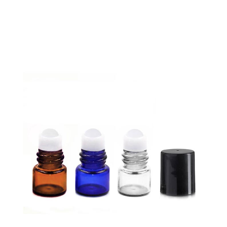 63ccd8a6d240 Lot of 144 (0.5ml) Glass Roll On Bottles Black Cap Mini 15x19mm Essential  Oil Lip Gloss Perfume - Cobalt Blue Amber Clear Roller Vials .5ml