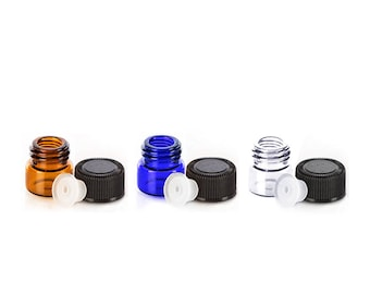 Lot of 108 (.5ml) Essential Oil Bottle Orifice Reducers Mini Sample Travel Containers w/Black Cap 1/8 Dram Cobalt Blue Amber Clear Vial .5ml