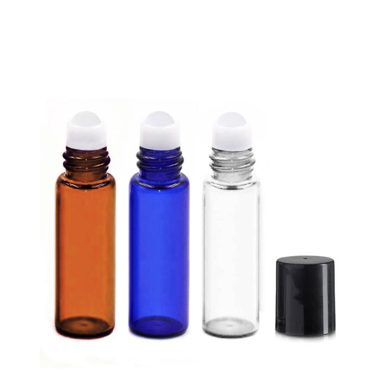 Lot of 108 5ml Glass Roll On Bottles Black Cap Mini 15x50mm image 0