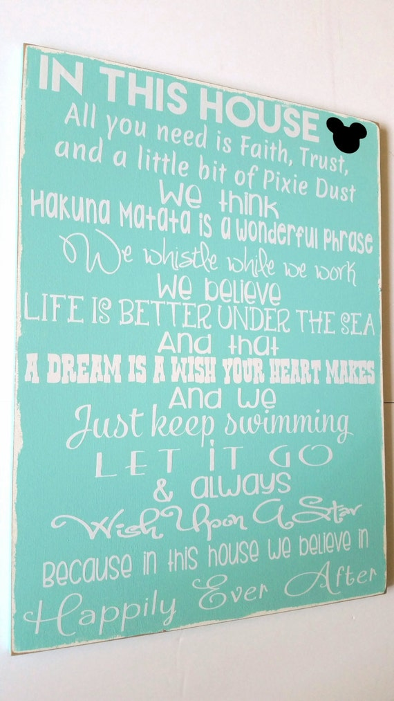 Disney Sign Full Of Your Favorite Disney Quotes In This House Etsy