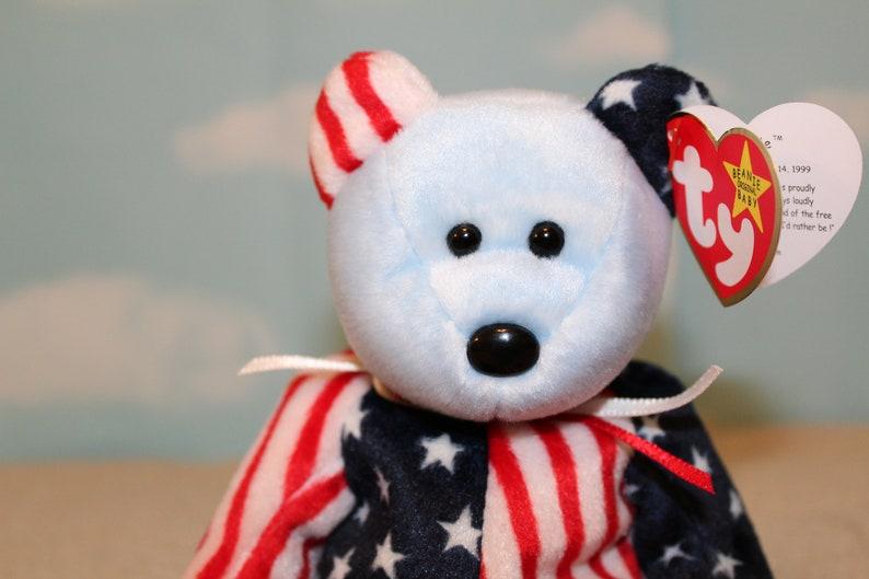 Spangle the Bear Beanie Baby Blue Face