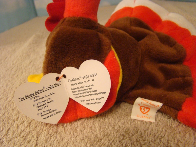 80bfbe160b3 Gobbles Turkey 1996 Ty Beanie Baby Retired RARE DOB 11-27-96