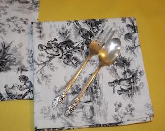 Organic Napkins, Eco Friendly Cloth Napkins Set of 4, Table Napkins, Snack Napkin, Toile Napkins, French toile Napkins