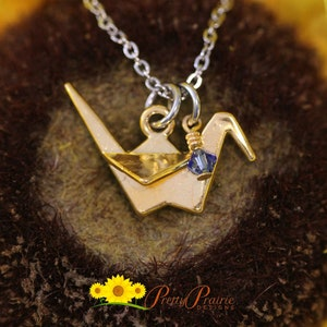 Friendship Gift Crane Jewelry Gold Paper Crane Initial Necklace Symbol or Hope Jewelry Japanese Necklace Origami Paper Crane Charm