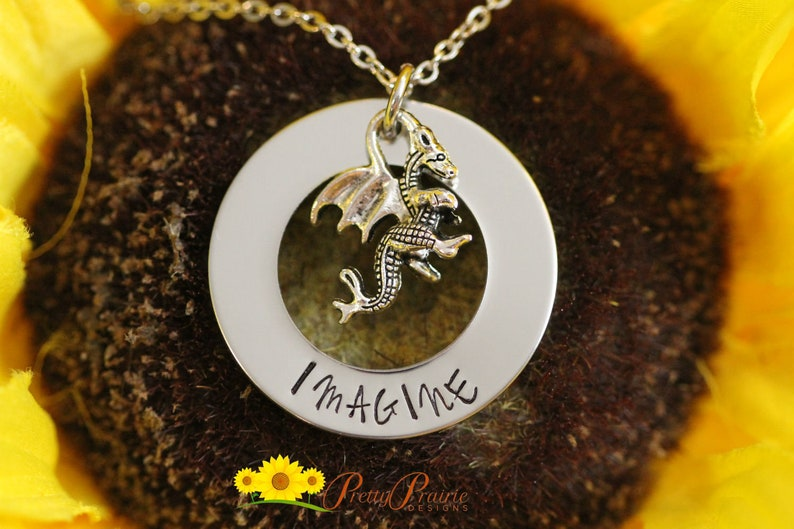 Hand Stamped Dragon Jewelry Strength Good Luck Gift Power Graduation Gift Imagine Dragon Necklace Medieval Jewelry Gothic Necklace