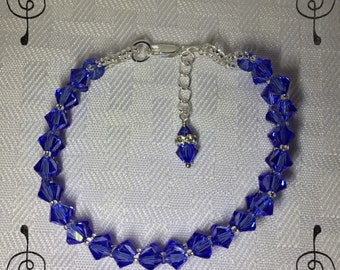Handcrafted Bracelet Made with Swarovski Sapphire Blue Sterling Silver