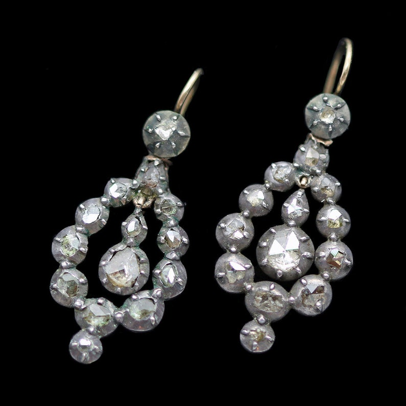 Antique Georgian Rose Diamond Drop Earrings c1780 4133 | Etsy
