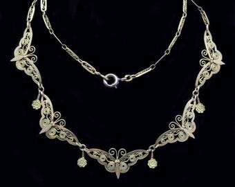 Antique Art Nouveau Necklace 18k Gold Butterflies Chain French Filigree (#6396)