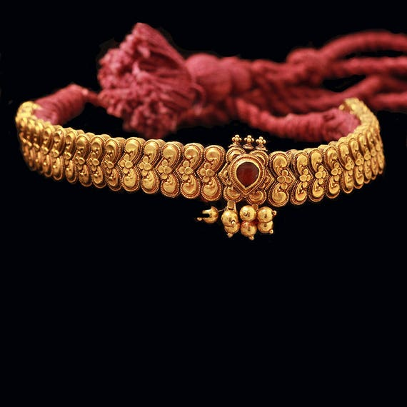 Antique Choker Necklace 20 22k Gold Marriage Bridal Wedding Etsy