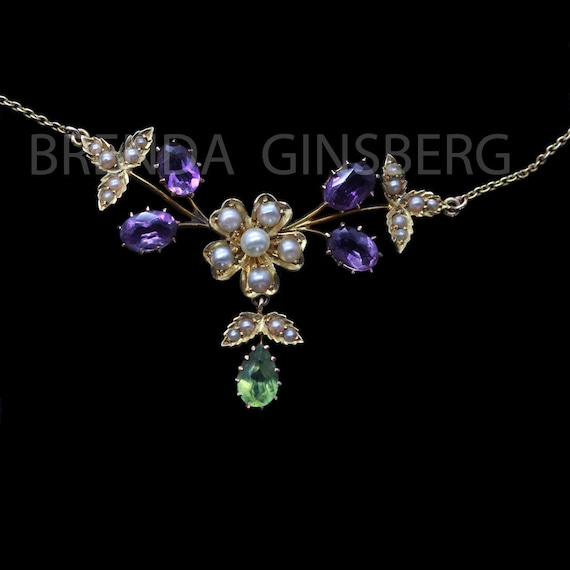 Antique Edwardian Necklace 15ct Gold Amethyst Peri