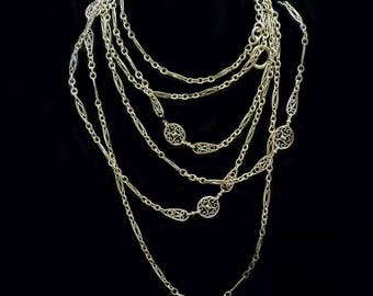 Antique Art Nouveau Long Chain Necklace Sautoir 18k Gold French Filigree (#6394)