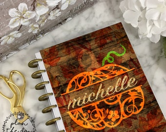 Personalized Fall Leaves Distressed Pumpkin cover for Erin Condren Life Planner, Plum Planner, Happy Planner, Personal Planner, A5 Planner