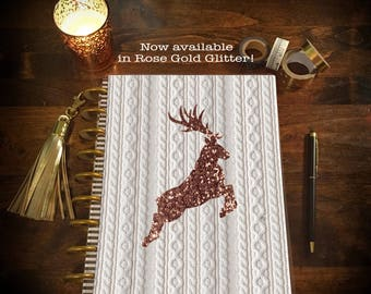Sweater Weather Digital Gold Glitter Stag Laminated Planner Cover for Erin Condren Life Planner, Plum Paper Planner, or Happy Planner