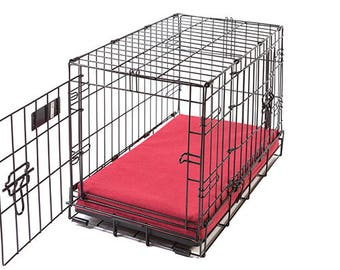 Cayenne Red Denim Memory Foam Crate Crate Pads for Dogs with Waterproof Liner