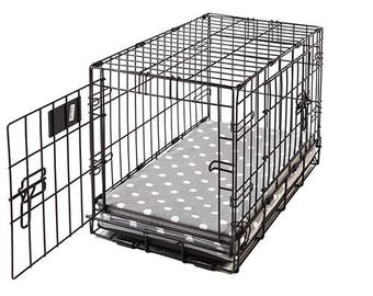 Grey Polka Dot Memory Foam Crate Crate Pads for Dogs with Waterproof Liner